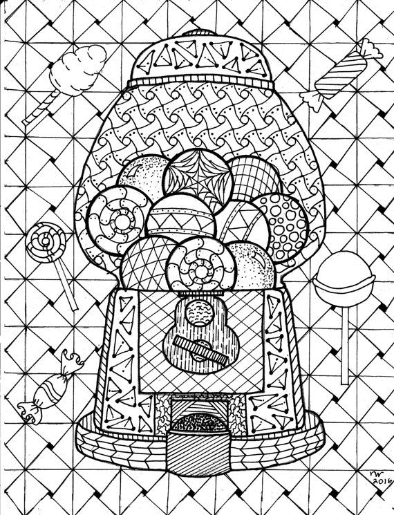 570x745 Gumball Machine Zentangle Coloring Page