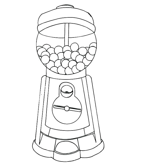 600x700 Bubble Gum Machine Coloring Page Perfect Gumball Machine Coloring