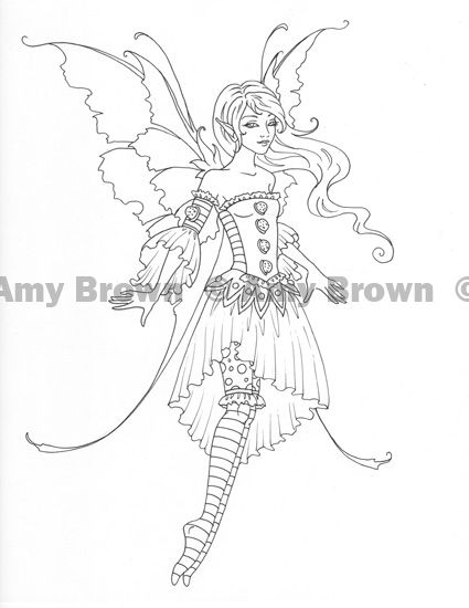 425x550 Amy Brown Fairies Coloring Pages Original Ink Drawing