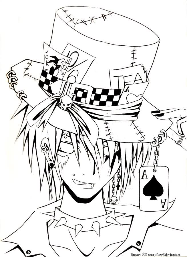654x900 Mad Hatter Coloring Pages Anime Guy Coloring Pages The Mad Hatter