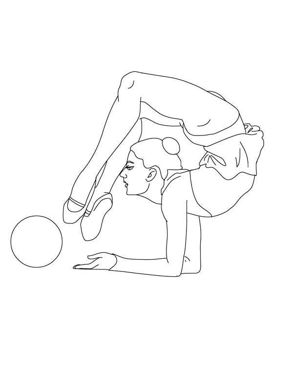 600x775 Ball Individual All Around Rhythmic Gymnastic Coloring Page