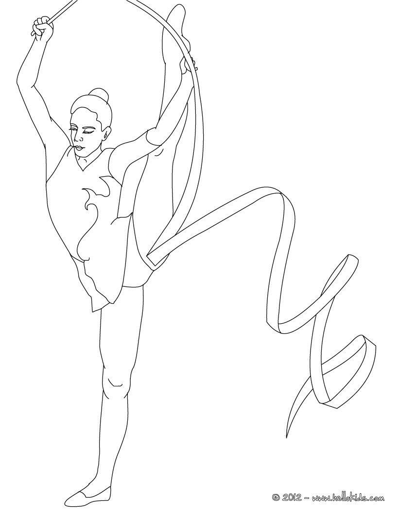 821x1061 Ribbon Individual All Around Rhythmic Gymnastics Coloring Page
