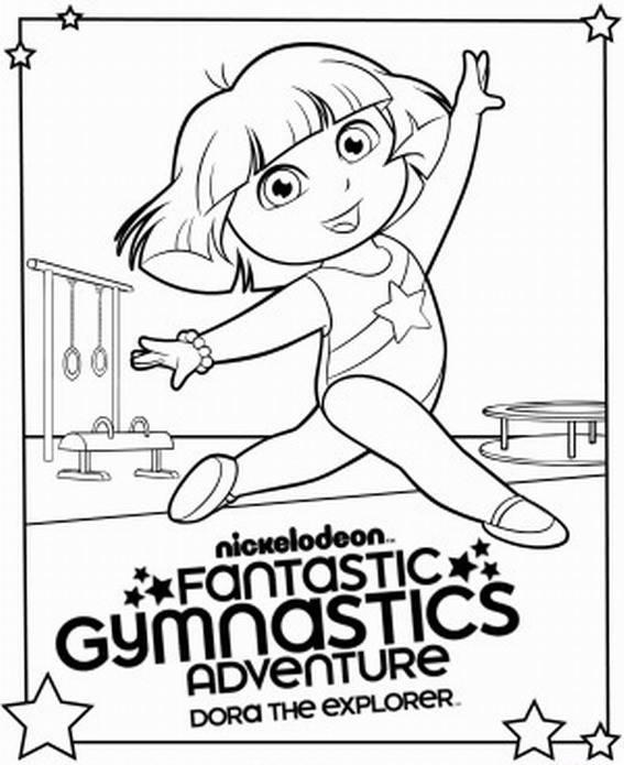 567x695 Dora The Explorer Gymnastics Coloring Page