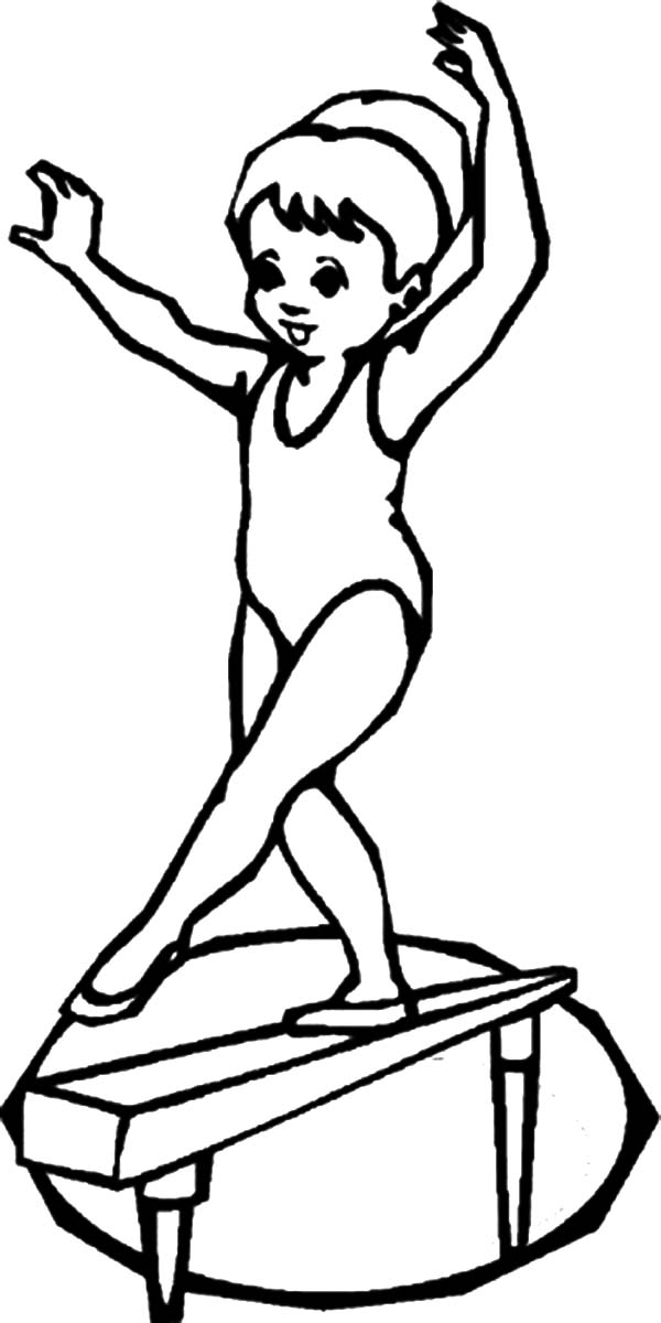 600x1200 Gymnastics Coloring Pages Girl On Balance Beam