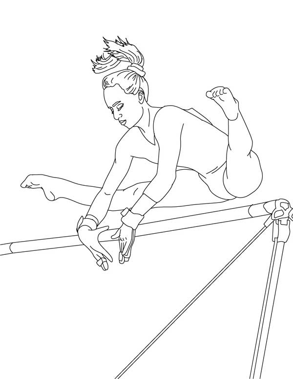 600x775 Perfect Score Of High Bar In Gymnastic Coloring Page