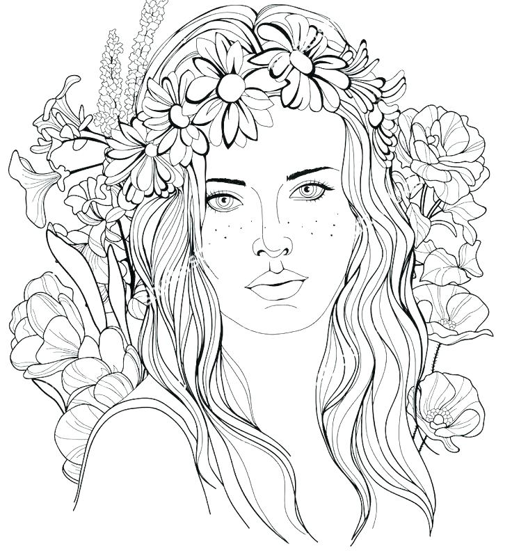736x792 Coloring Pages Hair Gorgeous Braided Hairstyle Long Hair Stock