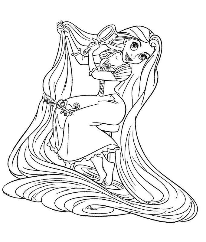 681x800 Rapunzel Brushing Her Hair Coloring Pages