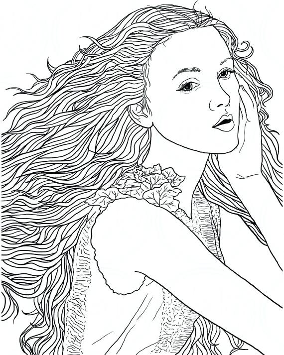 570x713 Girl With Long Hair Coloring Pages Adult Page Woman Face