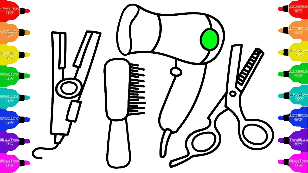 1280x720 How To Draw Accessories For Hair, Coloring Pages Set Barber
