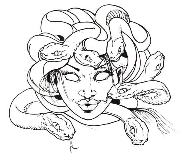 600x521 Awesome Medusa Snake Hair Coloring Page
