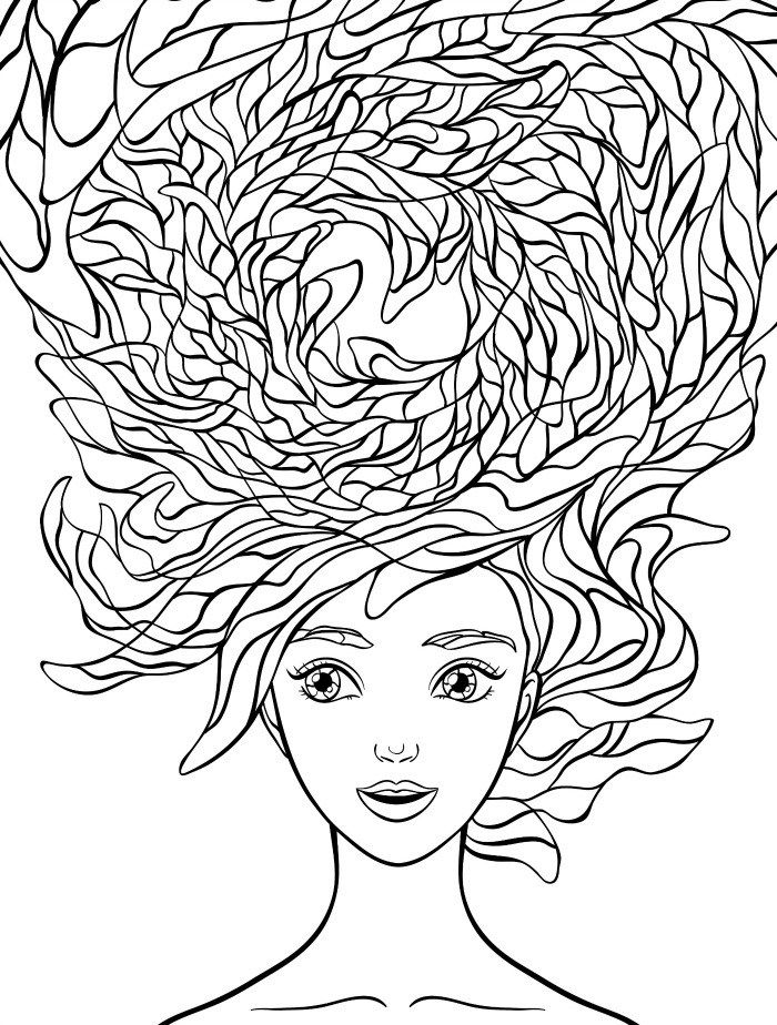 700x924 Beautiful Hair Coloring Pages For Adults Free Download Colouring