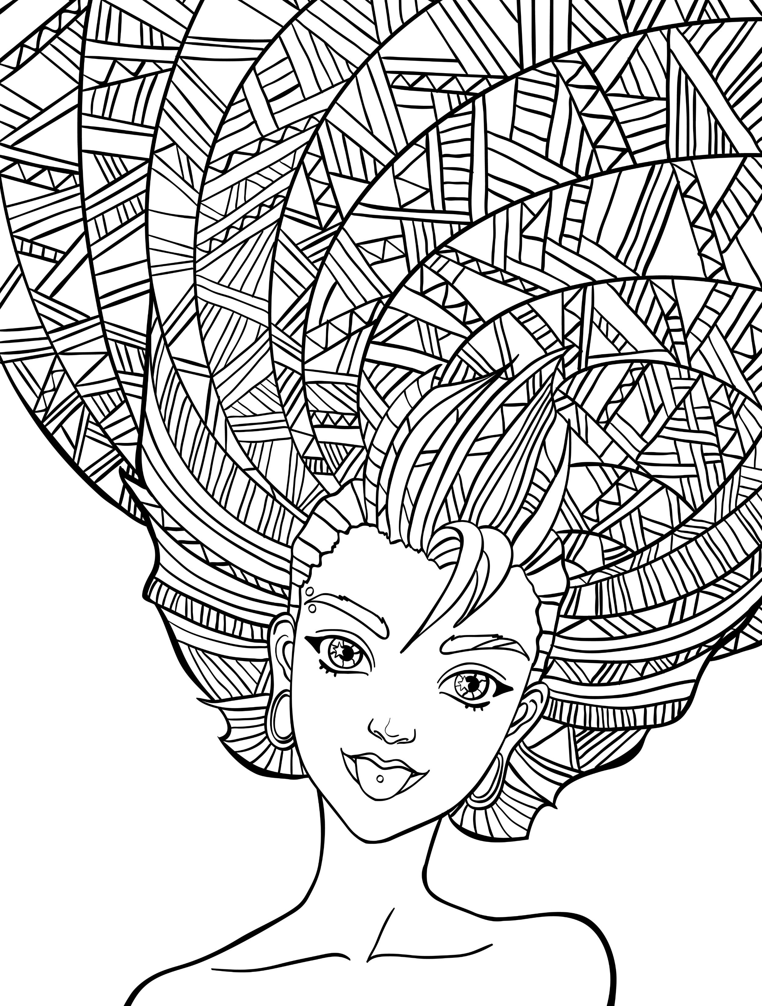 2500x3300 Crazy Hair Coloring Pages Funny Adult Coloring Pages Ebestbuyvnco