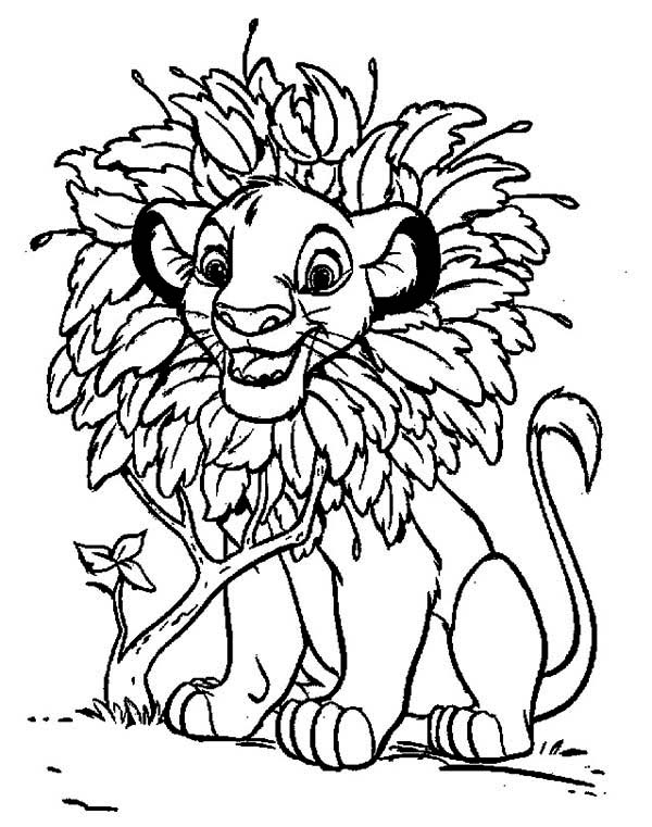 600x761 Awesome Simba With Leaves Hair Coloring Page