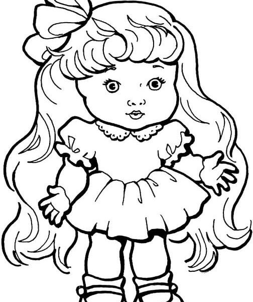 504x600 Baby Girl Colouring Pages Ba Girl Doll With Long Hair Coloring