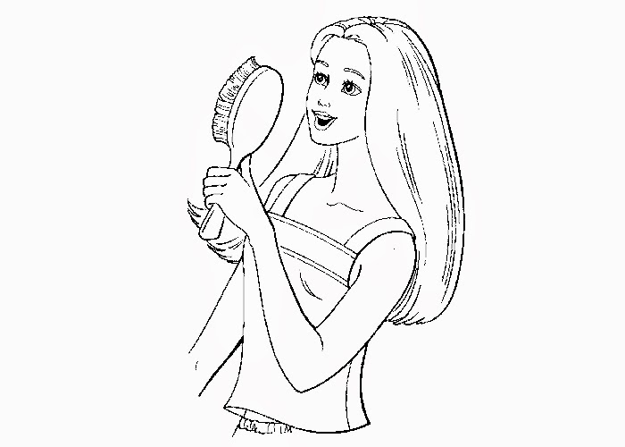 700x500 Barbie Brushing Hair Coloring Page Free Coloring Pages