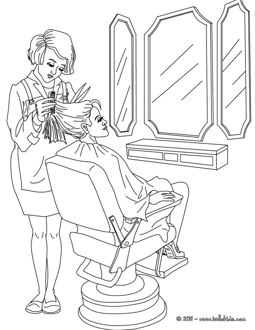 820x1060 Hairdresser Coloring In Coloring Pages