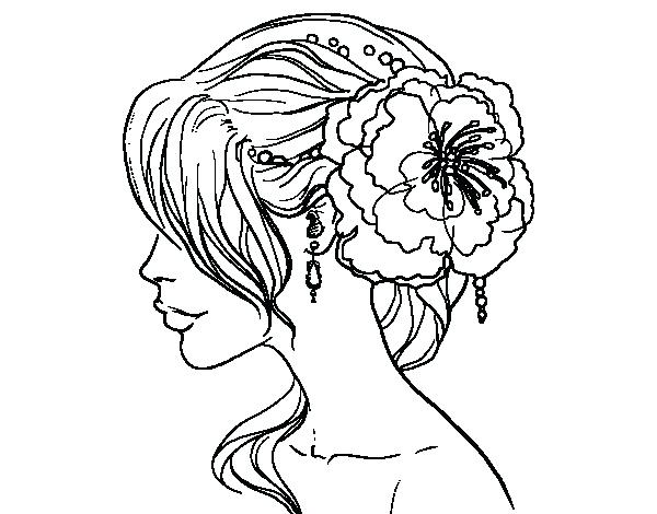 600x470 Coloring Pages For Adults Flowers Flower Wedding Hairstyle Page