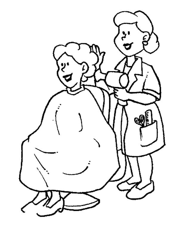 600x757 Hair Stylist On Jobs Coloring Pages Making Work Fun