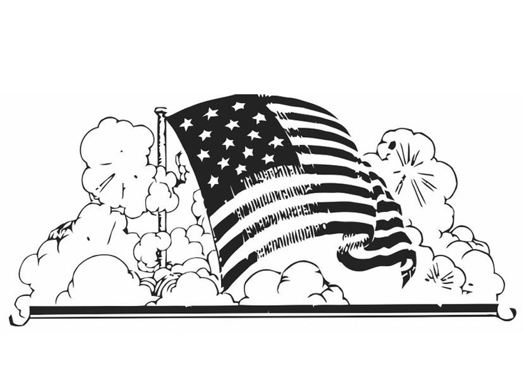 750x531 Coloring Page American Flag