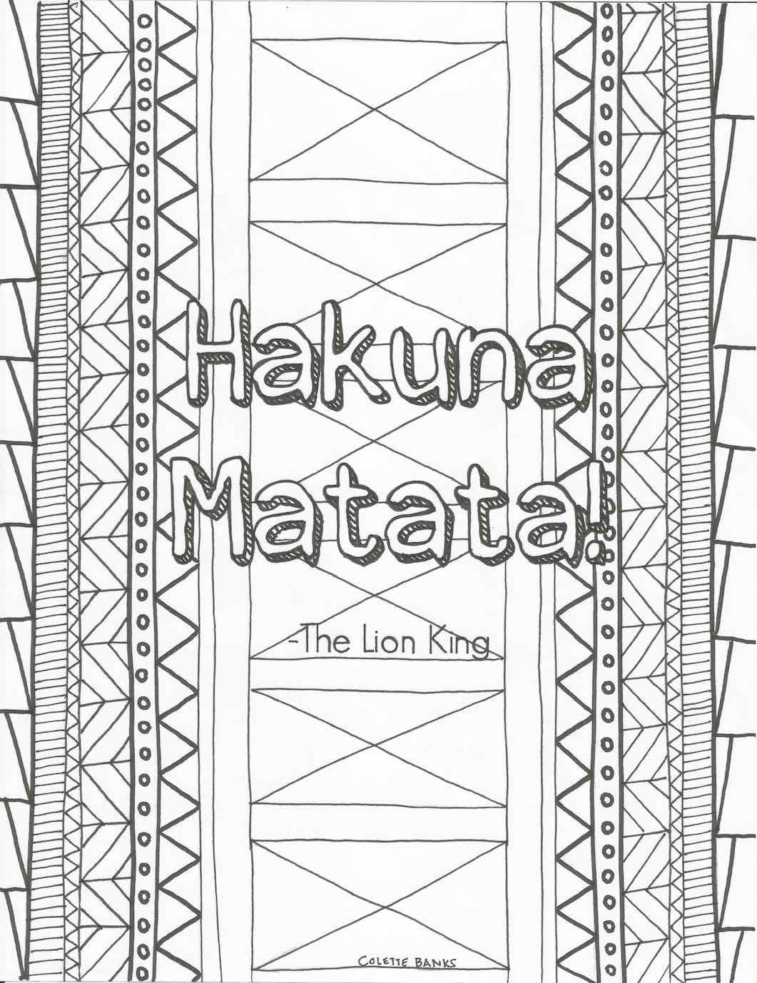 1061x1378 Hakuna Matata Quote Digital Print Adult Coloring Book Page