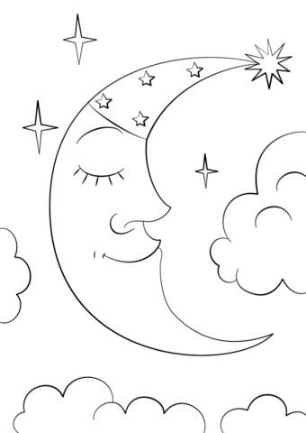340x480 Half Moon Coloring Pages Crescent Clip Art At Clker Vector