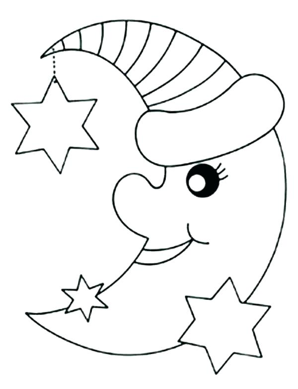 600x782 Moon Coloring Page Crescent Moon Coloring Page Colouring Pages