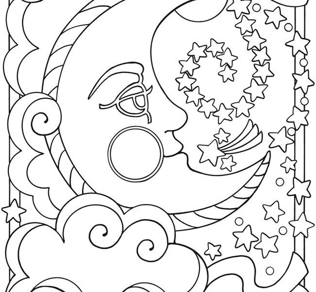 650x600 Moon Coloring Pages For Adults Coloring Page