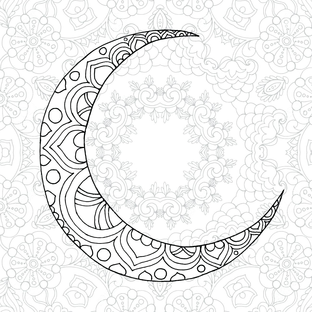 1300x1300 Sizable Half Moon Coloring Pages Page Ramadan