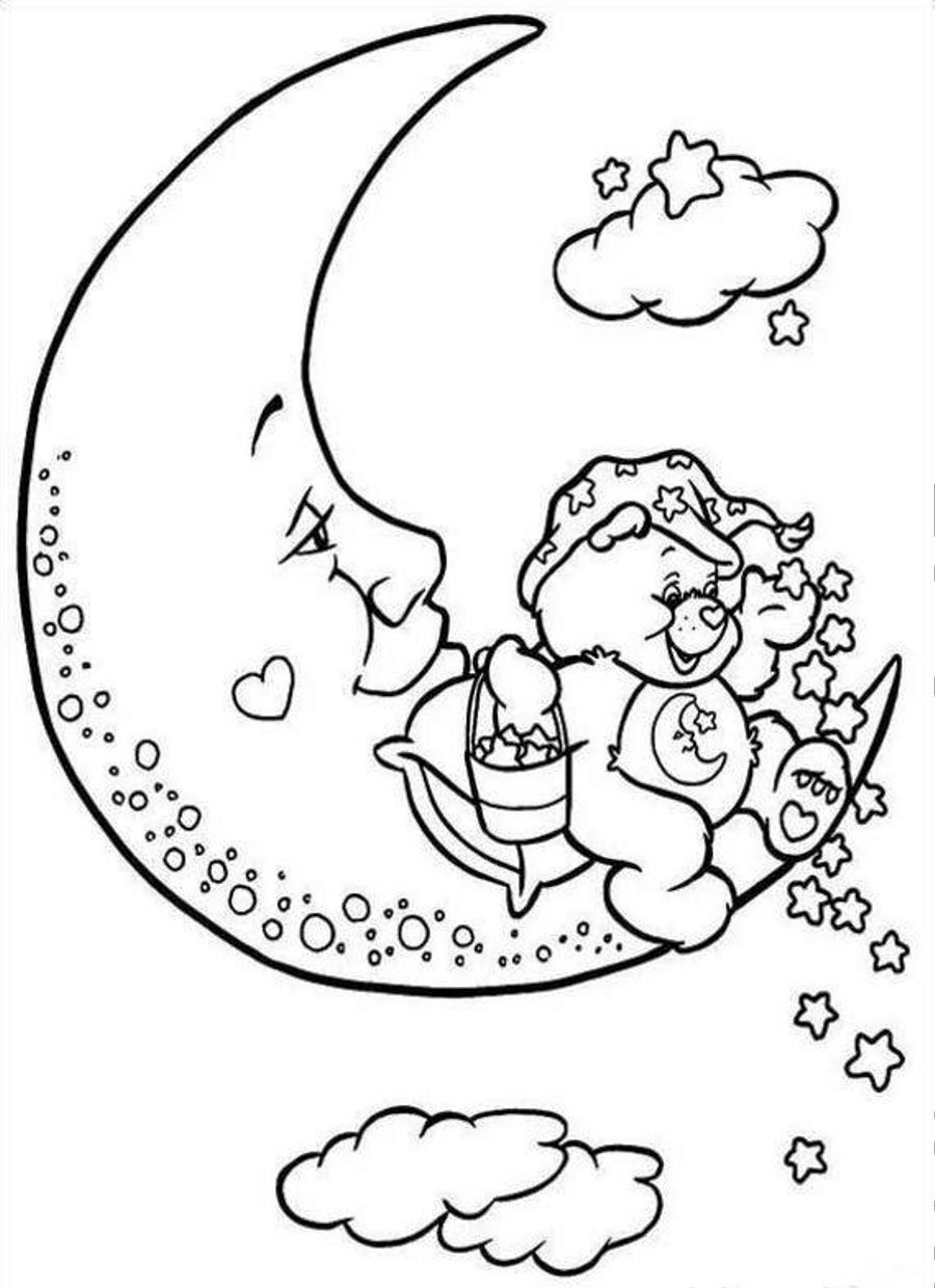 900x1240 Care Bears Coloring Pages Care Bears Sitting On Half Moon