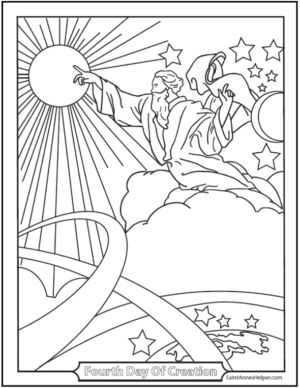 590x762 Creation Coloring Pages God Made The Sun, Moon, And Stars