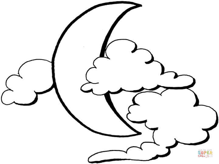 720x539 Crescent Moon Coloring Page