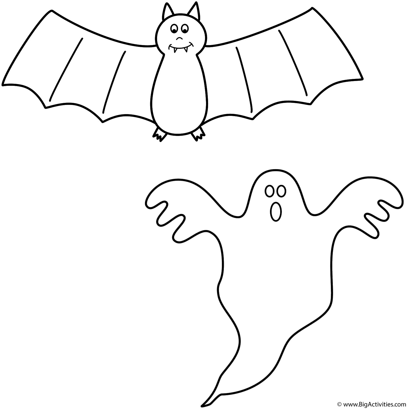 1606x1606 Halloween Bat Coloring Pages For Kids Unique With Ghost Page
