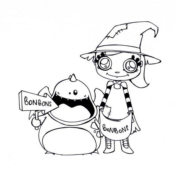 620x591 Halloween Candies Coloring Pages