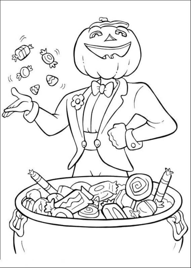 805x1127 Print Jack O Lantern And Halloween Candy Coloring Pages