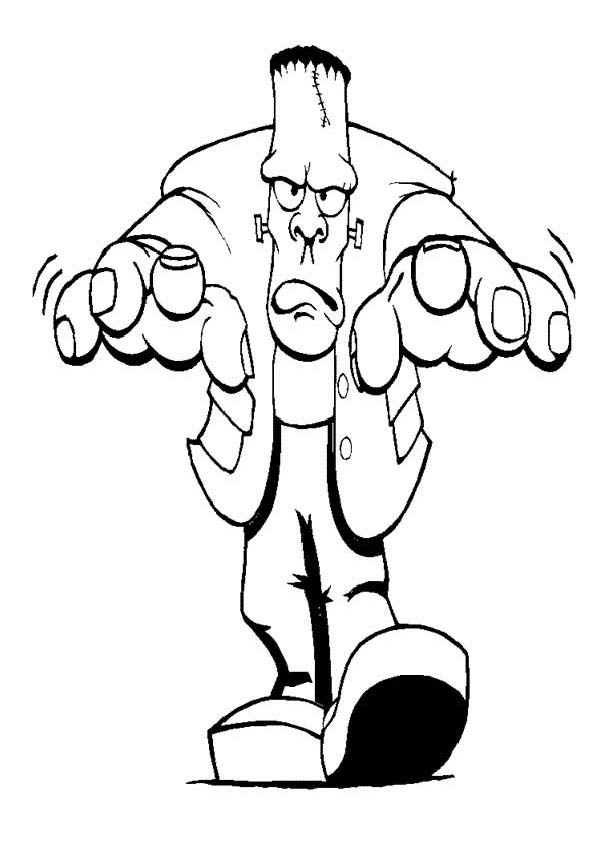 600x859 Furious Mr Frankenstein On Halloween Day Coloring Page