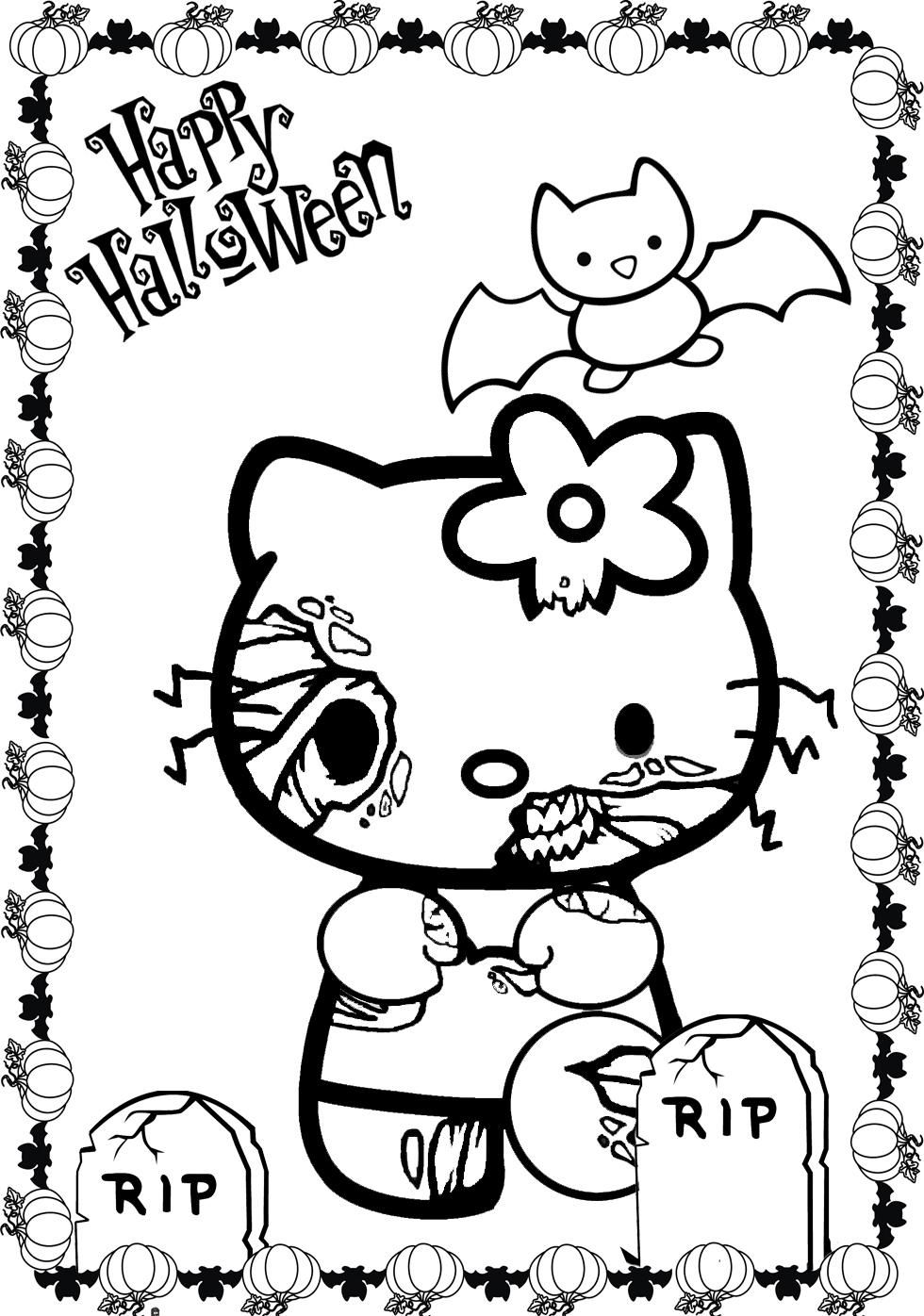 980x1396 Cartoon Coloring, Scary Halloween Hello Kitty Coloring Pages