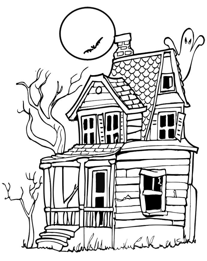 690x868 House Halloween Coloring Pages Kids Coloring Pages