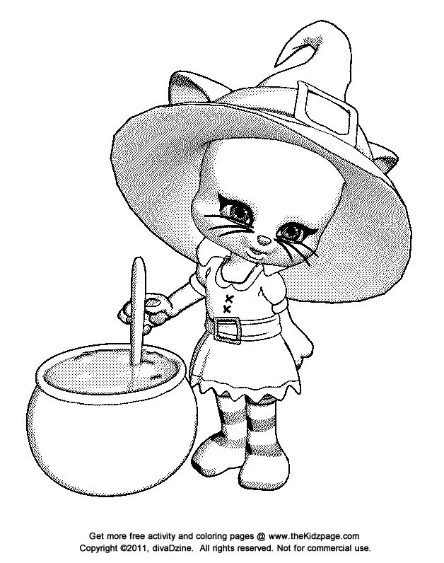 Halloween Kitty Coloring Pages
