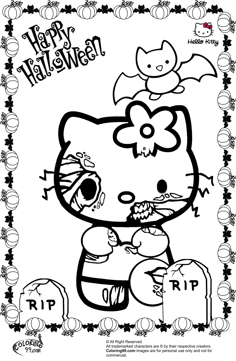 980x1500 Hello Kitty Halloween Coloring Pages