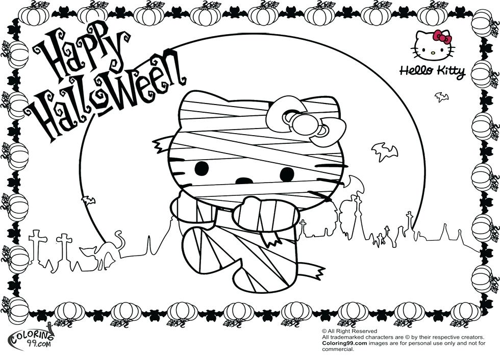 980x700 Halloween Hello Kitty Coloring Pages