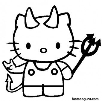 341x338 Hello Kitty Coloring Pictures Print Out Hello Kitty Halloween