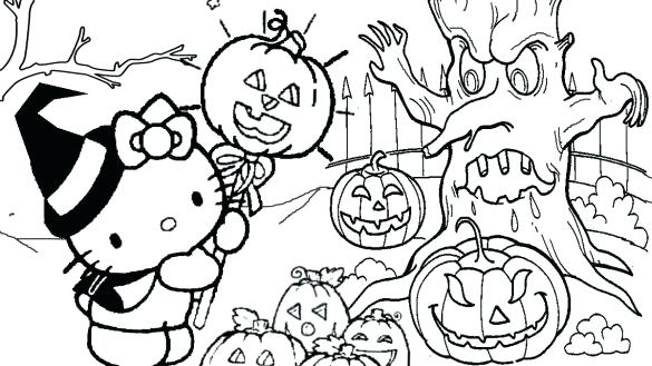 585x329 Hello Kitty Halloween Coloring Pages Printables Professional