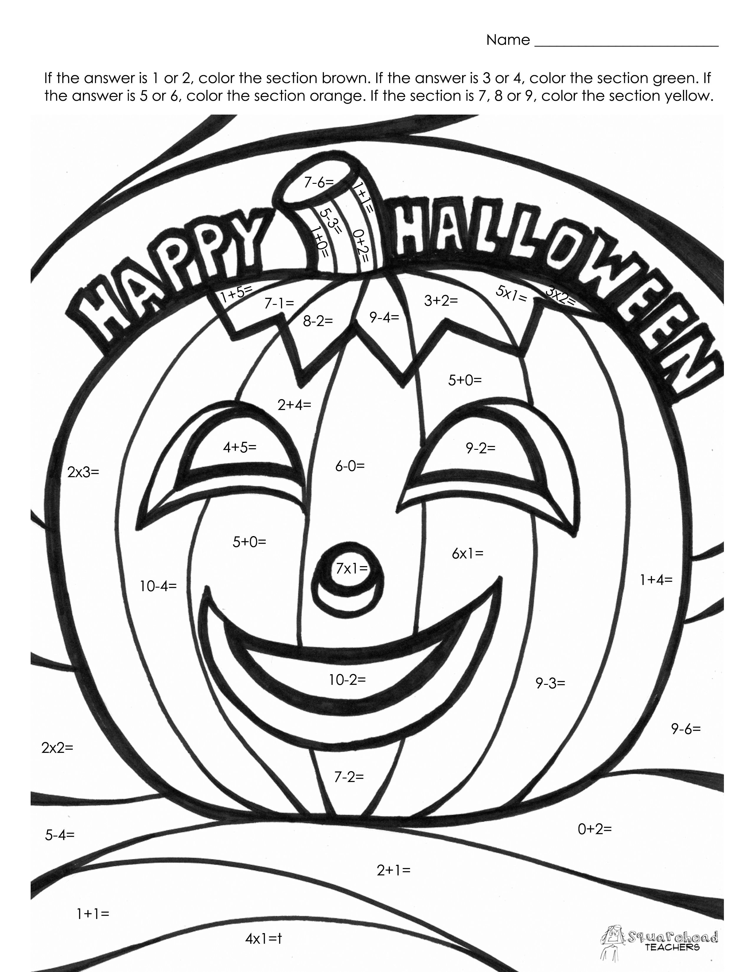 2550x3300 Halloween Coloring Pages Grade Copy Fourth Grade Math Coloring