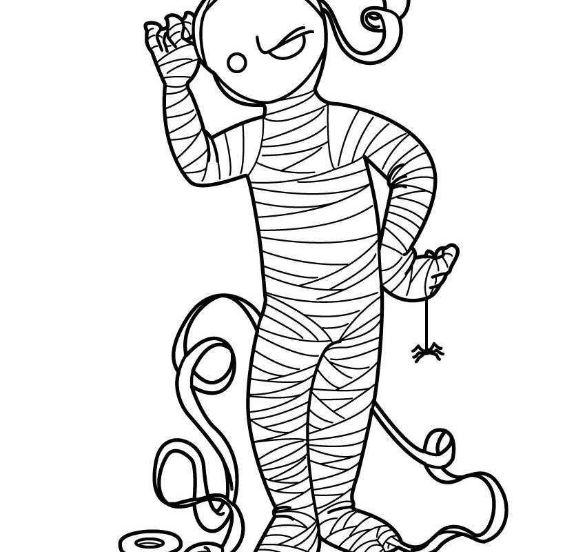 820x800 Halloween Mummy Free Color Pages For Kids Coloring Page Printable