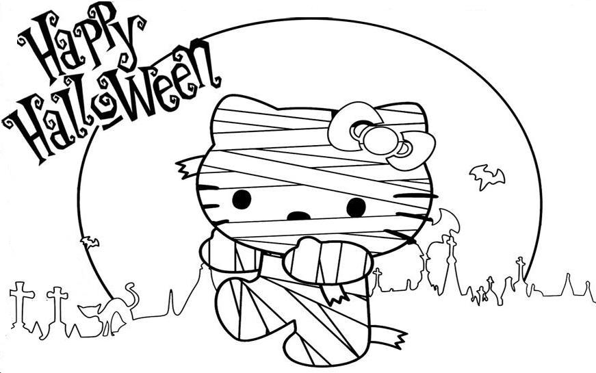 871x545 Hello Kitty Mummy Coloring Pages Printable For Halloween