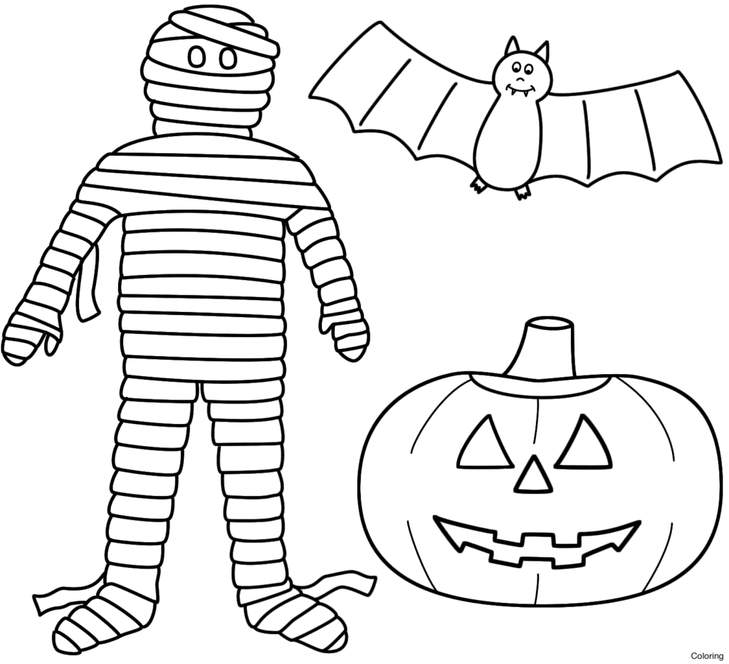 1024x932 Mummy Coloring Pages Mommy Printable Diaiz Halloween Bat Pumpkin