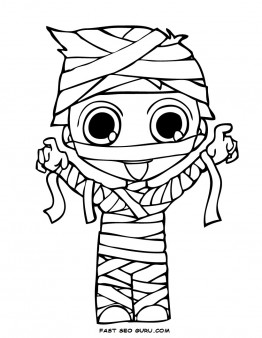262x338 Print Out Halloween Kids Mummy Coloring Page