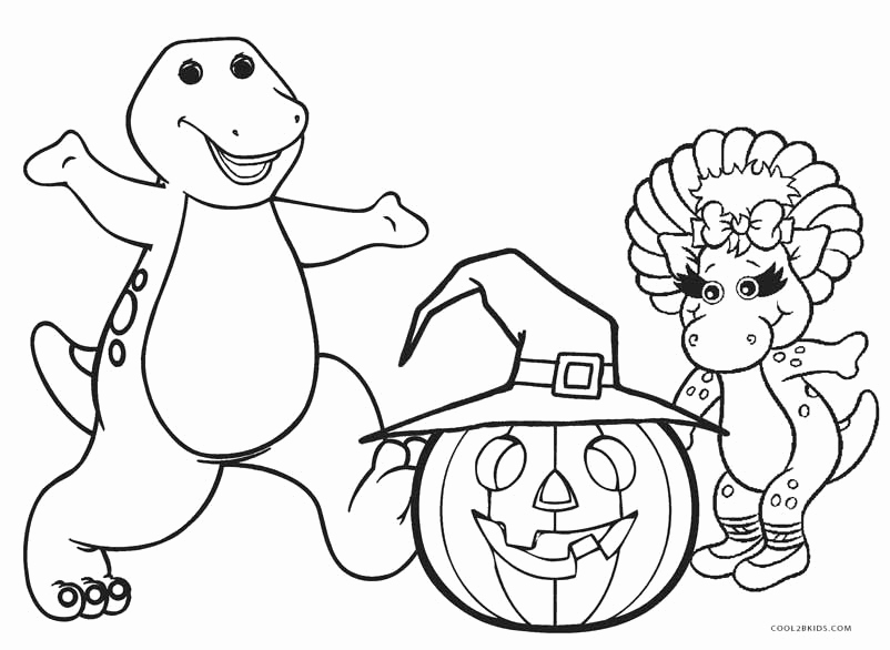 802x586 Free Printable Barney Coloring Pages For Kids Halloween Party
