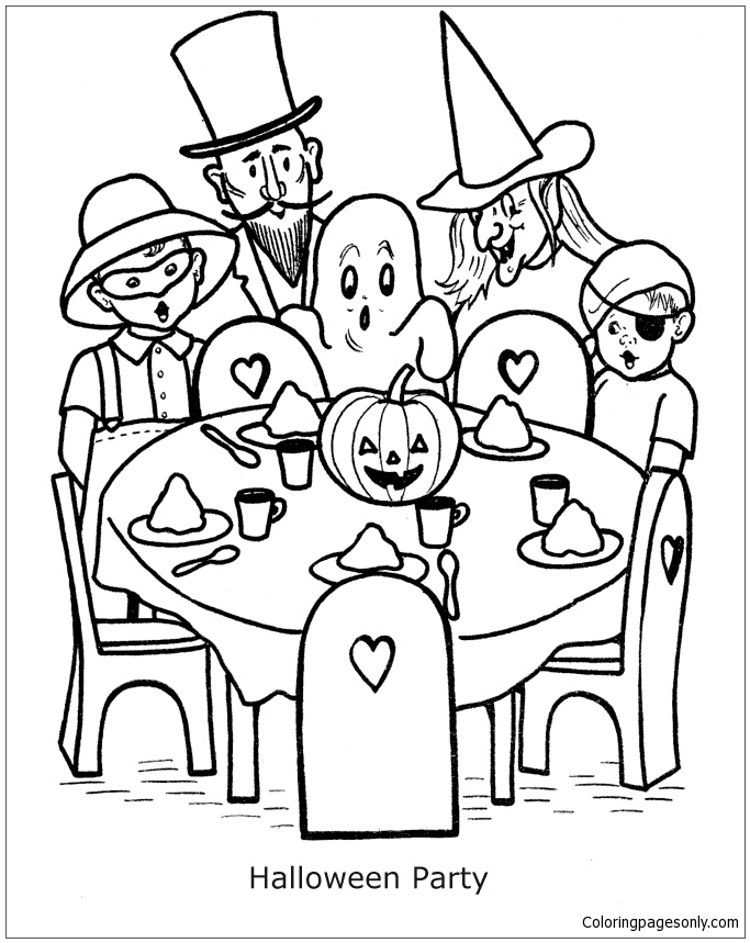 683x859 Halloween Party Coloring Page