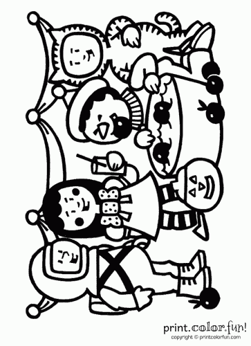 363x500 Halloween Trick Or Treaters Coloring Page